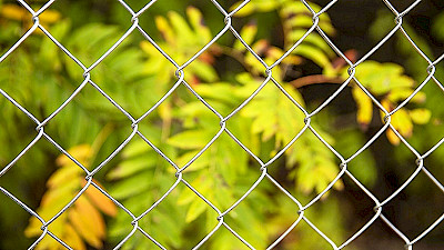 galvanized chain link mesh in autumn with colourful leaves.